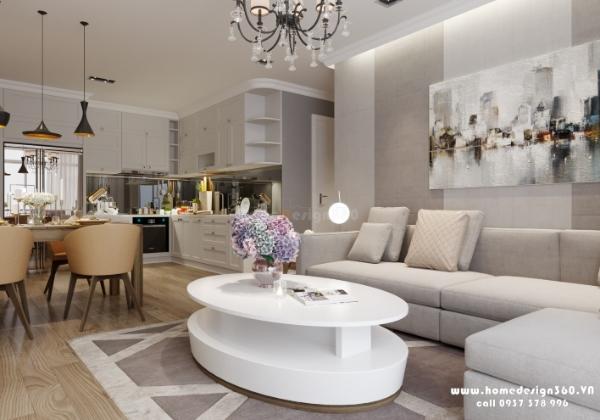 không gian phòng khách chung cư vinhomes