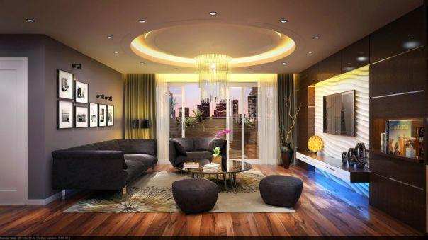Thiết kế nội thất- trần thạch cao dạng tròn