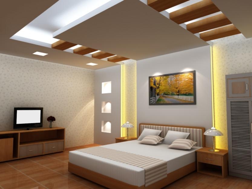 thiết kế nội thất trần thạch cao gỗ