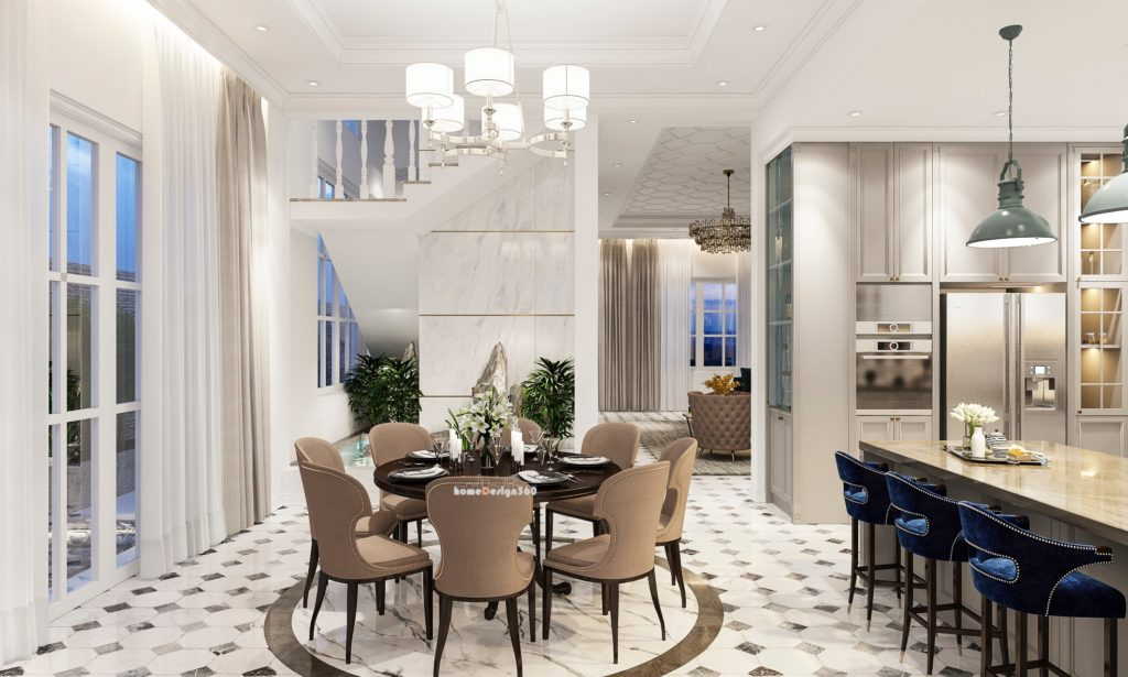 biệt thự tân cổ điển - nội thất không gian khách bếp